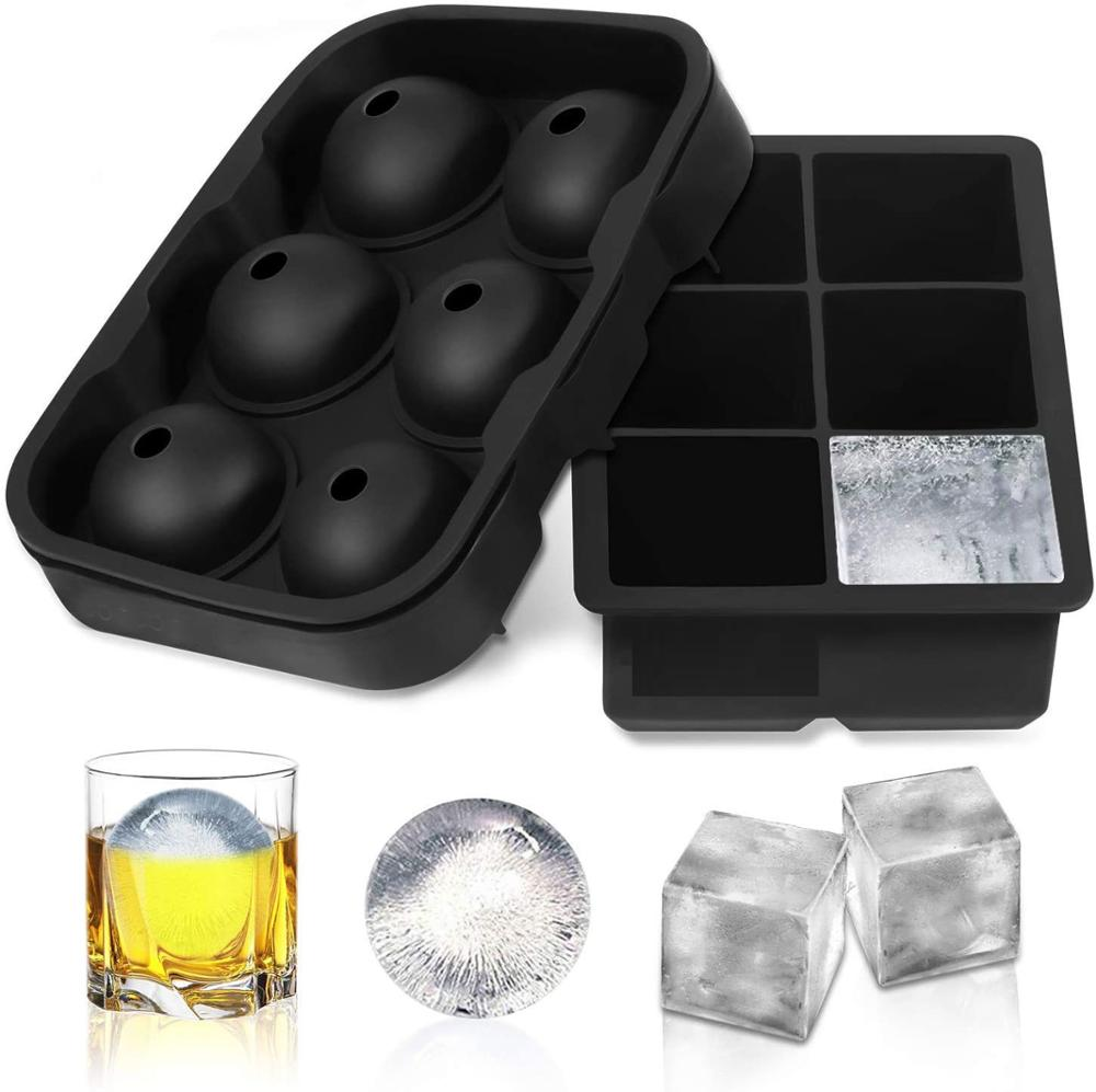 Bandeja de cubitos de hielo de silicona, esférico de hielo con tapa, moldes de cubitos de hielo cuadrados grandes para cócteles, whisky y Borbón, herramienta DIY