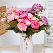 1 bouquet de fleurs de pivoine artificielle fraîche 5 têtes romantique bricolage faux soie Roses à fleurs pour la décoration de la maison de fête de mariage