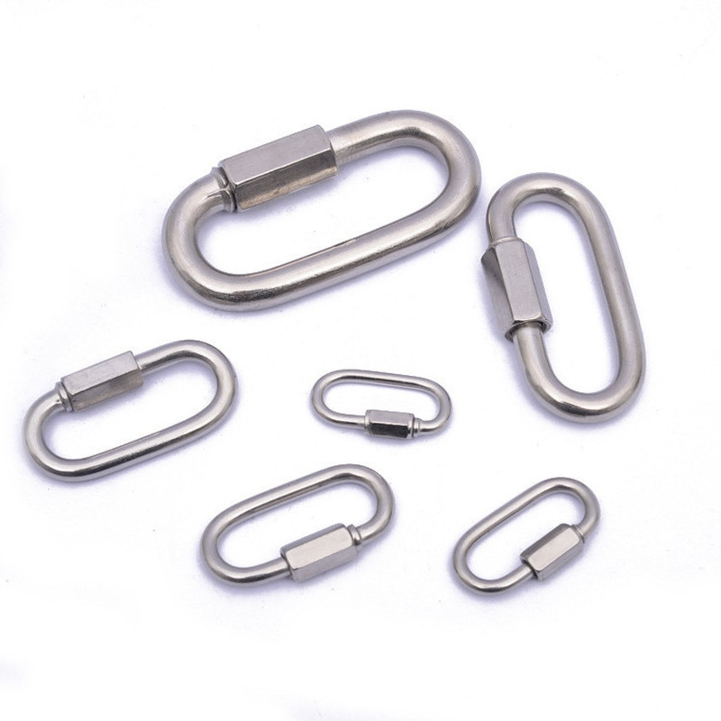 New Stainless Steel Screw Lock Climbing Gear Carabiner Quick Links Safety Snap Hook Chain Connecting