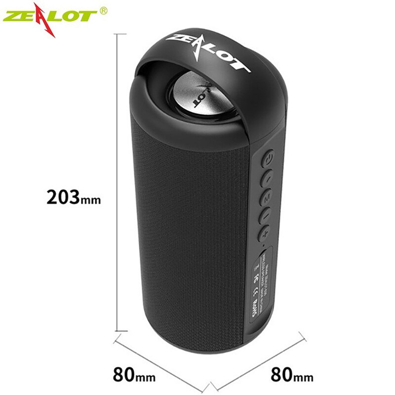 ZEALOT S36 Wireless Bluetooth Speaker Powerful 3D Stereo Outdoor Portable Subwoofer Bass Column Support TF Card USB Drive