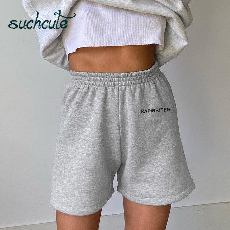 SUCHCUTE, pantalones cortos para mujer, pantalones de chándal informales deportivos para motero, ropa de calle suave de algodón para verano del 2020, ropa casera de cintura alta