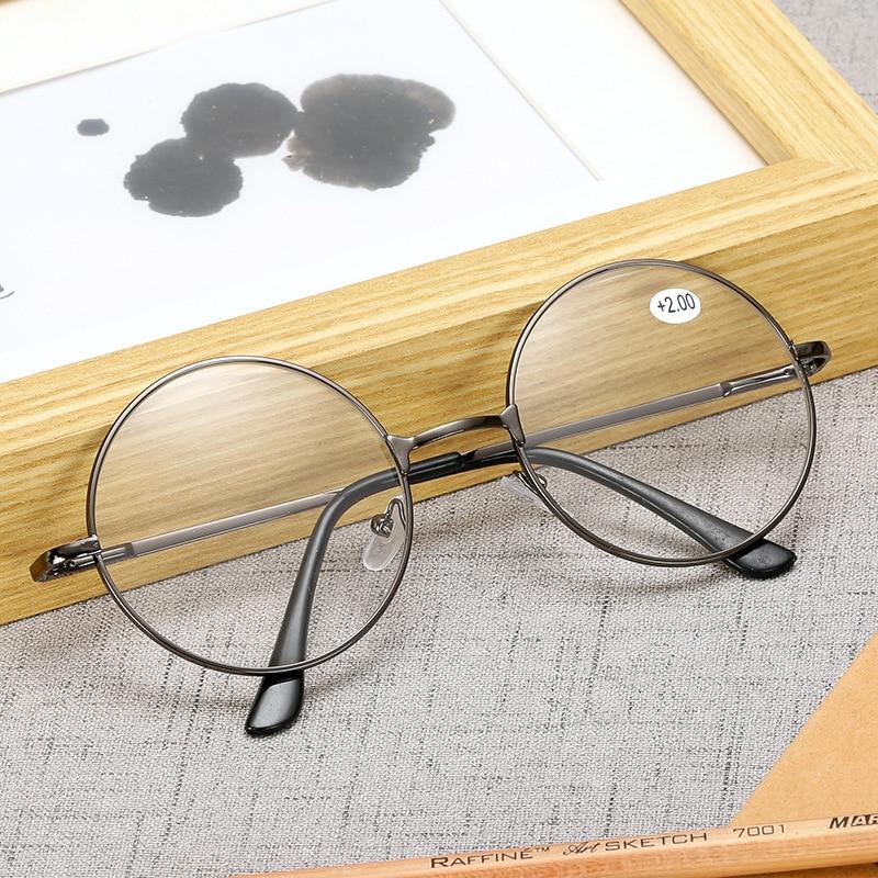Kobiety Vintage okrągłe okulary do czytania przezroczyste soczewki moda złote okrągłe okulary do czytania mężczyźni okulary fałszywe okulary dioptrii + 1.0 ~ + 4.0