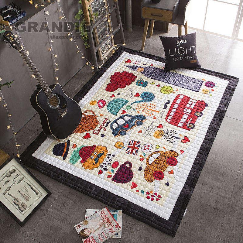 Alfombra de juego para bebé de 145x195cm, diseño londinense, alfombra antideslizante multiusos, Alfombra de colchón colcha caliente de 2,2 KG para el hogar y los viajes