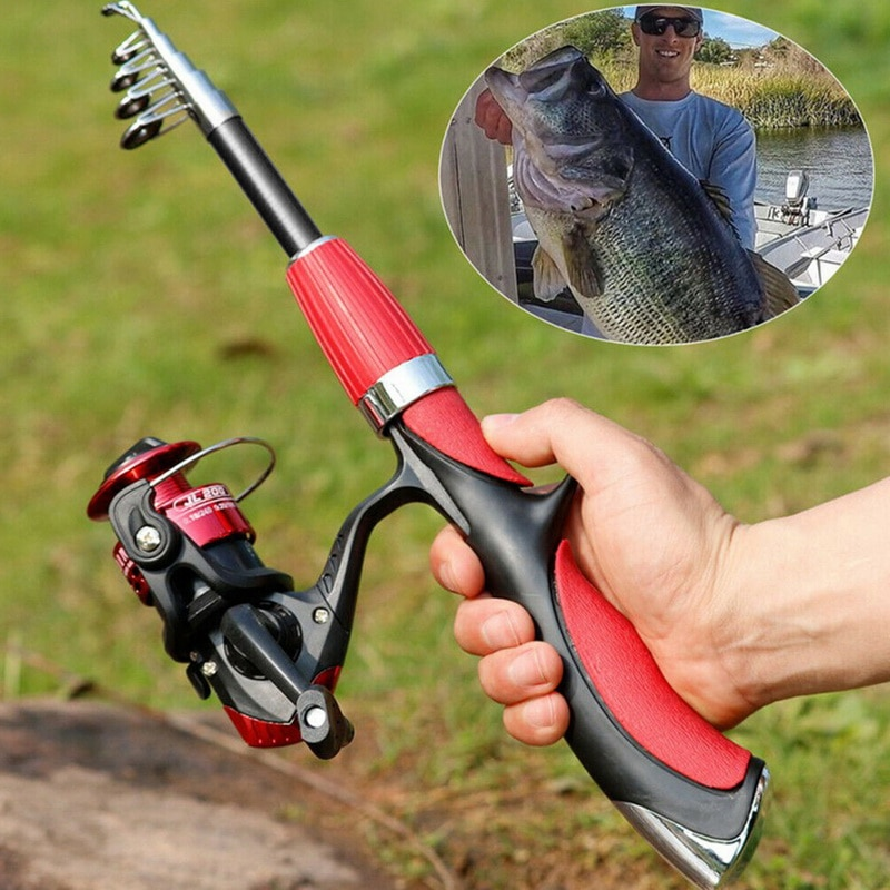 Fishing Rod Reel Set Telescopic Travel Portable Durable Fishing Tool Carbon Light Rod With Mini Spinning Reel Fishing Tackle Set enlarge