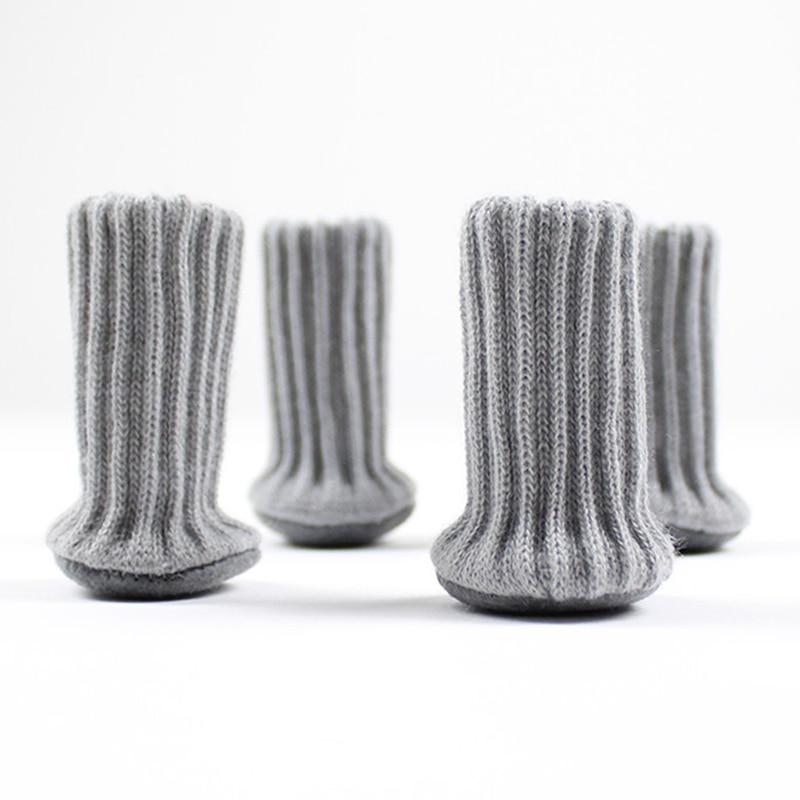 4 PCS Knitted Chair Leg Socks High Elastic Furniture Socks Pads Non-Slip Furniture Feet Caps Covers For Protect Floor