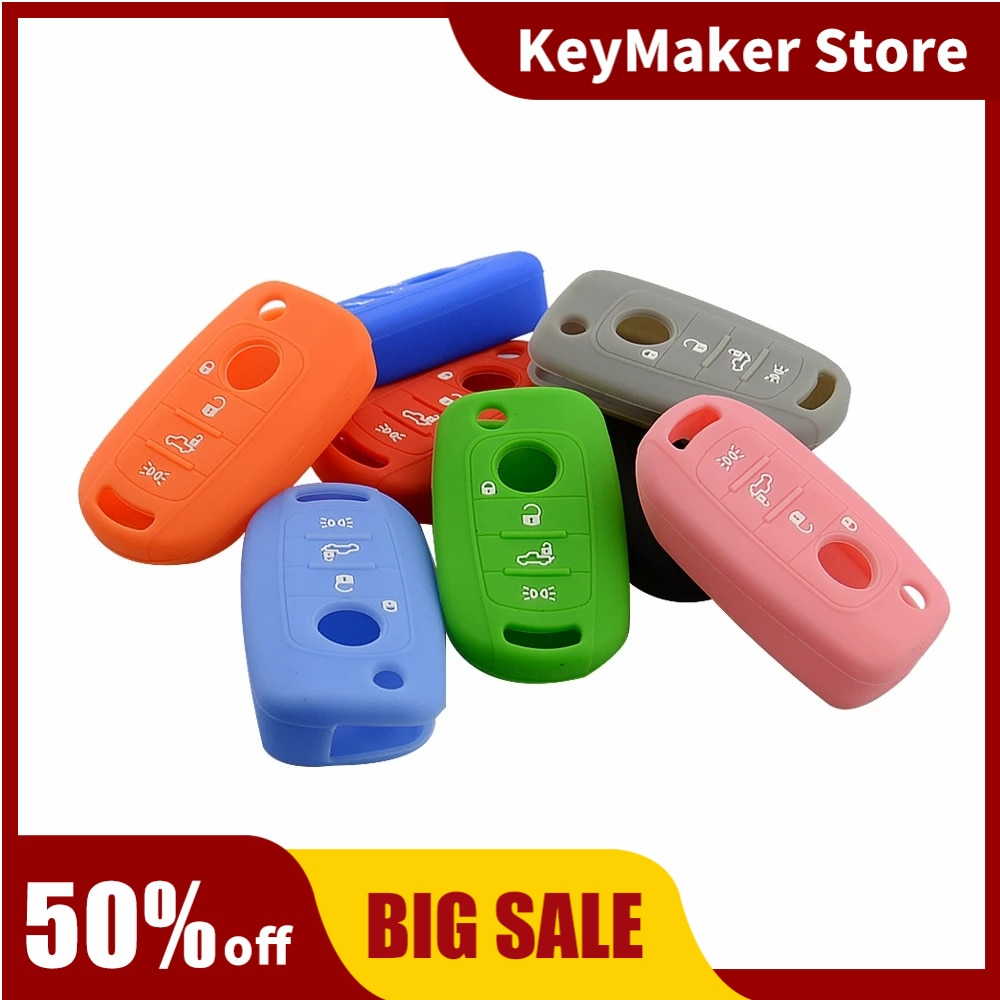 OkeyTech 4 Buttons Car Silicone Case Cover Fob For Fiat Egea 500X Toro Tipo for Dodge Neon Skin Key