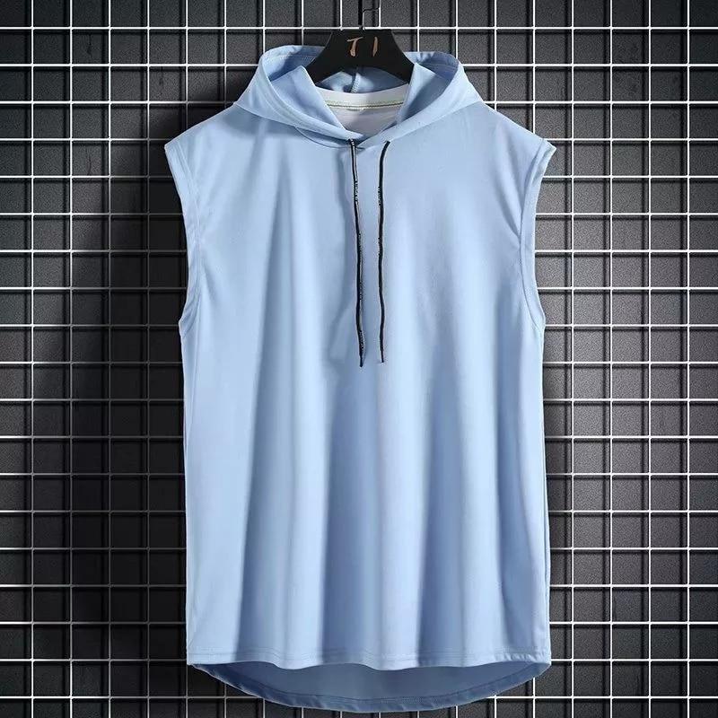 Camiseta sin mangas con capucha muscular para hombre, chaleco de entrenamiento para gimnasio, culturismo, camiseta de alta calid