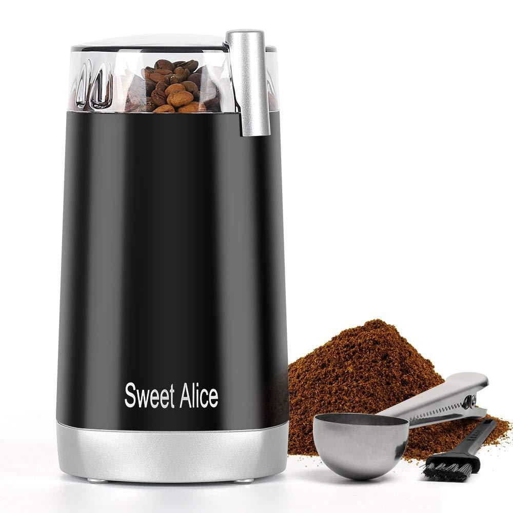 Sweet Alice Coffee Grinder Electric Quiet Coffee Bean Blade Grinders Stainless Steel for Spice Herbs Nuts Cereals Grain Mills