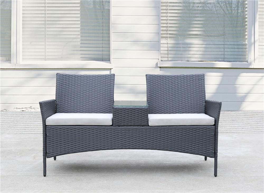 Плетеный комплект мебели для патио, диван для входа, уличный садовый шезлонг, диван со встроенным журнальным столиком