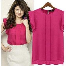 Fashion Women's Large Size Chiffon Shirt Tops Flying Sleeve Chiffon Shirt Tops Chic Street Commuter Tops