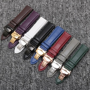 Strap for Stainless Steel Butterfly Buckle Leather Watch Band Watch Accessories for Tissot Longines Omega IWC CK Citizen Watch