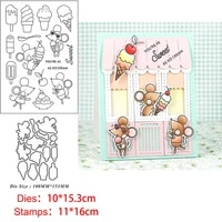mouse mice ice cream clear stamps and metal cutting dies diy scrapbooking paper photo album crafts seal punch stencils