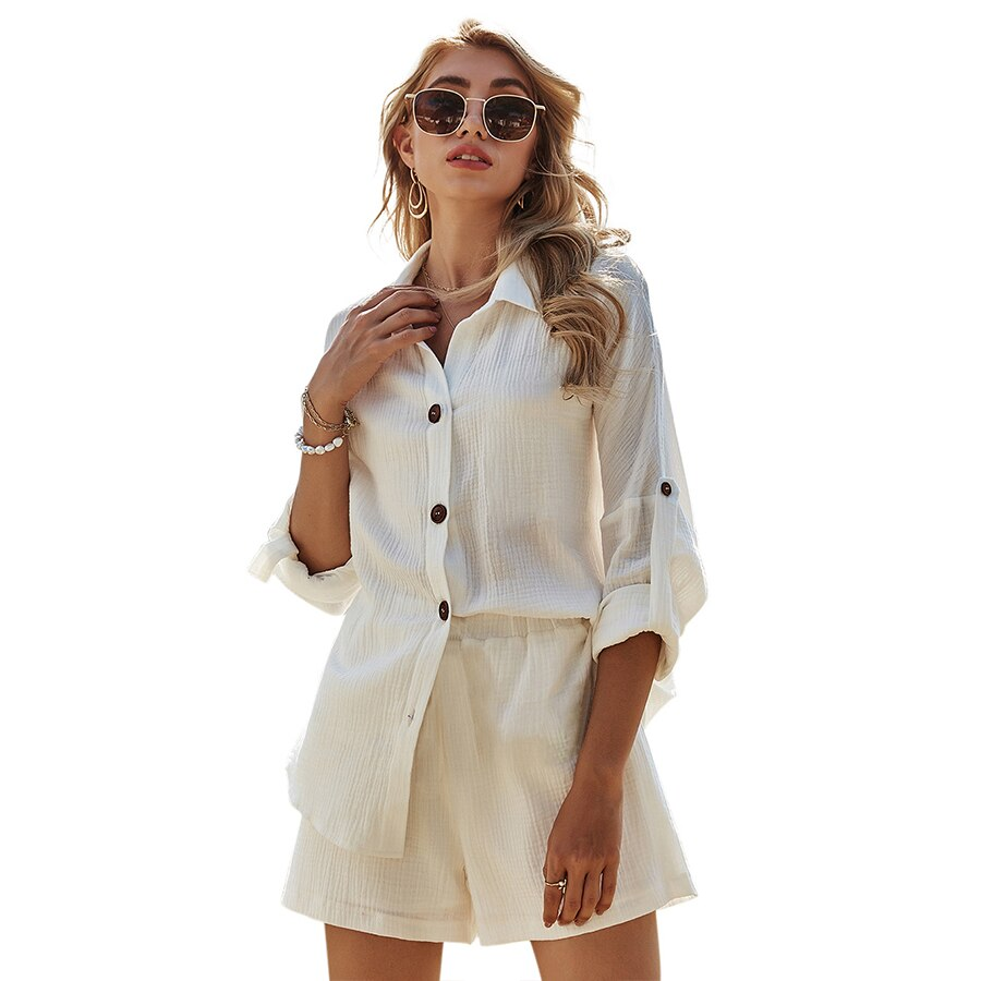 MIXINNI Women's Casual Suit Female 2021 Spring New Long-Sleeved White Shirt Top Cotton And Linen Shorts 020