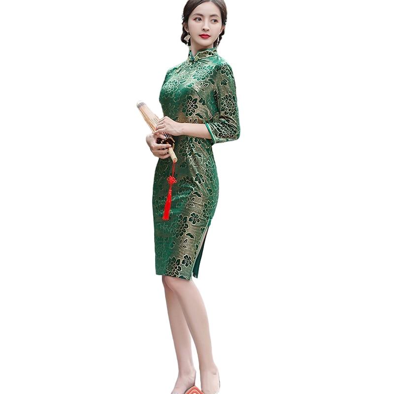 Chinese Traditional Qipao Autumn Winter Women Velvet Cheongsam Evening Party Dress Size M L XL 2XL 3XL 4XL 5XL
