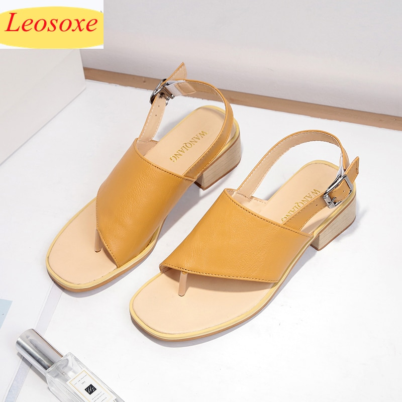 Summer Women Sandals Post Slingback Square Mid-heel Flip Toe Rubber Sole Solid Casual Leisure Shoes