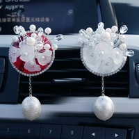 creative pvc white and red flowers ornaments car vents perfume clip air freshener automobile interior fragrance decoration
