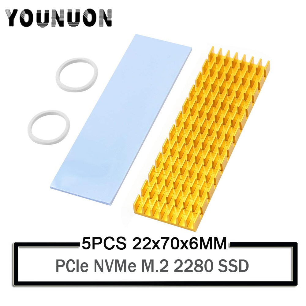 Disipadores de calor de aluminio al por mayor 5 piezas PCIe NVMe M.2 2280 SSD ordenador portátil PC memoria de refrigeración Fin disipador de calor por radiación