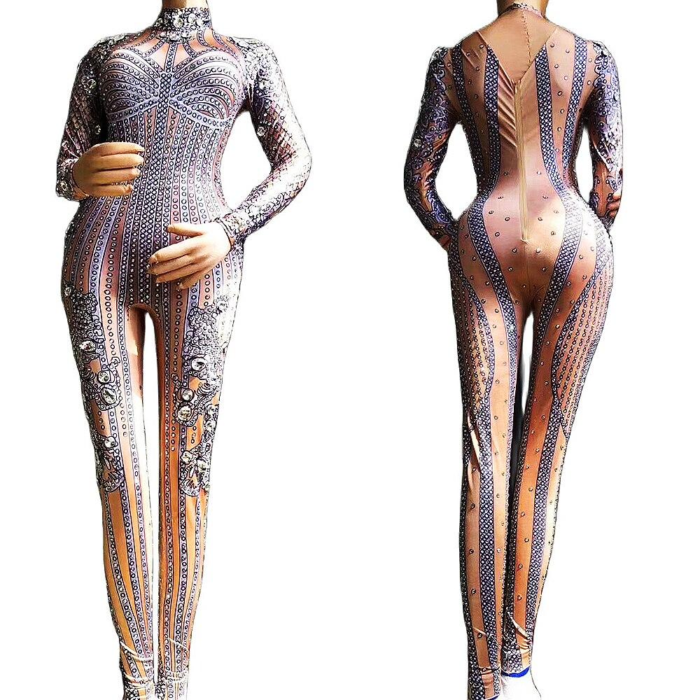 مخطط نمط الطباعة تألق الراين الجوارب بذلة النساء عارية الذراعين يوتار ملهى ليلي الرقص ارتداء زي مسرحي