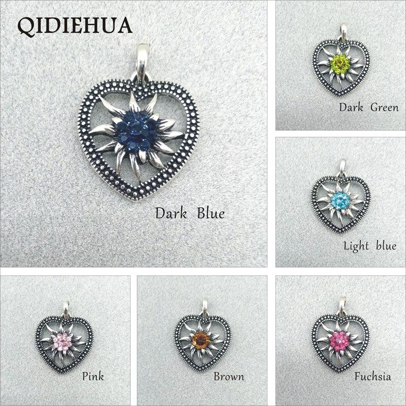Novo diy antigo prata fazer pingentes de cristal flores pequeno amor coração conector charme pingentes para colar fazer descobertas