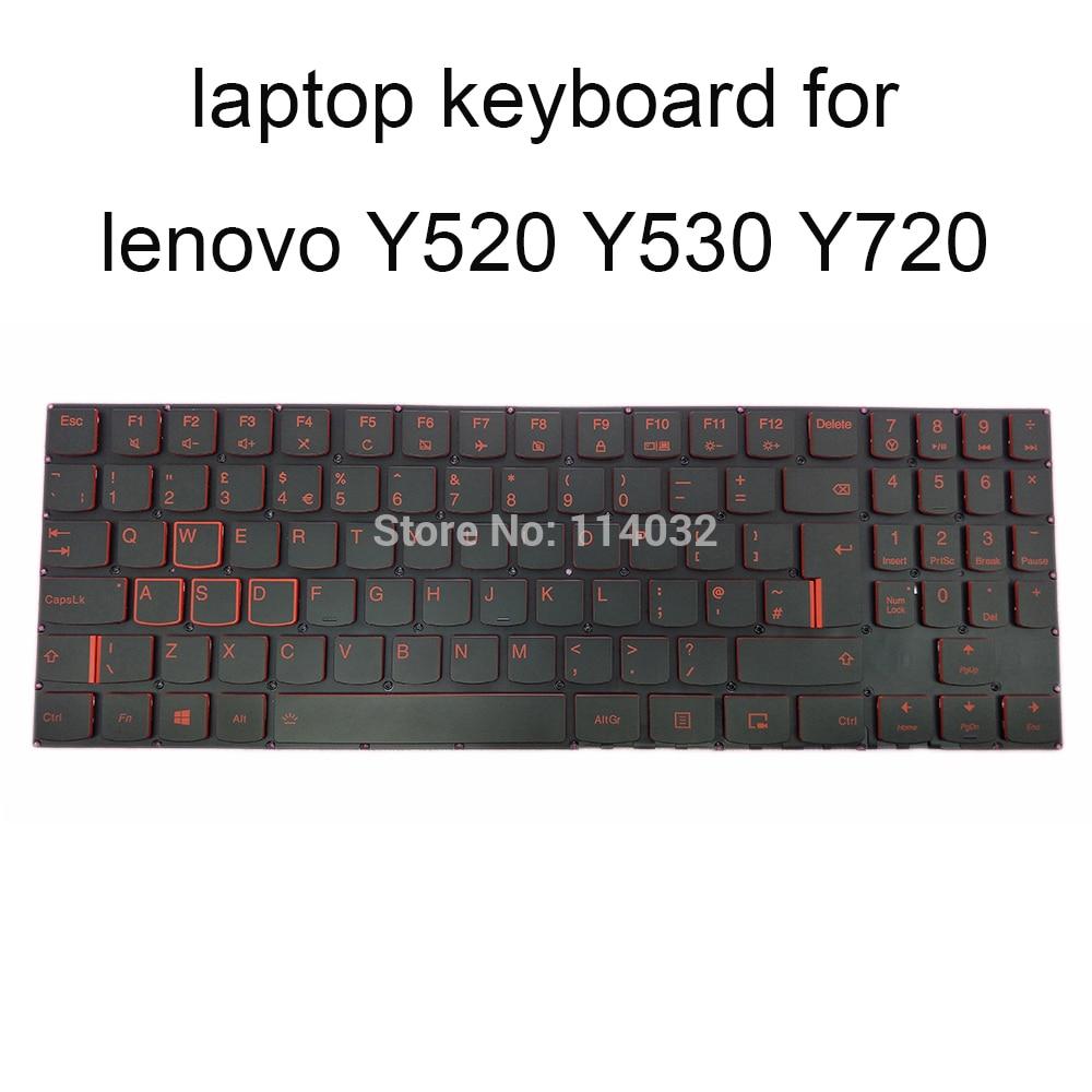 المملكة المتحدة مفتاح كاب محمول الخلفية لوحات المفاتيح لينوفو Y520-15 Y720 Y530 Y520-15IKBN IKBA نوع 80WK الأسود لوحة المفاتيح الأحمر مفاتيح LCM16F8