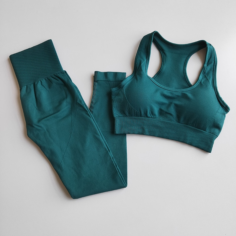 Fitness Women Yoga Set Gym 2-Piece Bras+Seamless Leggings Push Up Pants Exercise Padded Workout Running Suit Sportswear Athletic