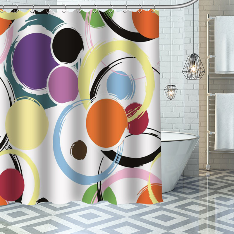 Custom Colorful abstract pattern Shower Curtains Bath Products Bathroom Decor  Waterproof Polyester With 12 Pcs Hooks