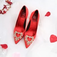 the bride red wedding shoes new satin rhinestone stiletto high heels korean style pointed shoes