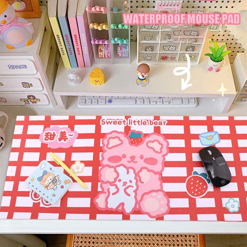 Kawaii Ins медведь Мышь большой милый стол коврик для компьютерной клавиатуры Настольный коврик для мышки студентов Мышь геймер Razer в наличии оп...
