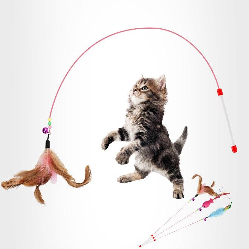 Jouets pour animaux de compagnie pour chats magique drôle chien bâton accessoire chat animal avec plume interagir magique drôle chat bâton avec des jouets de sonnerie