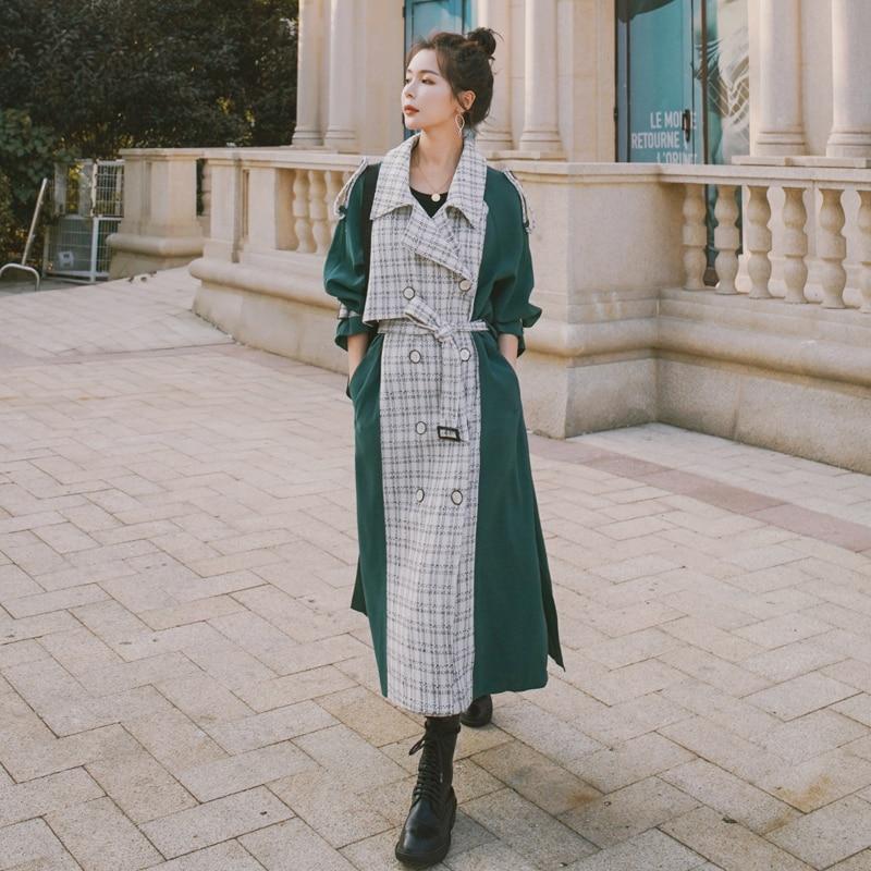 العلامة التجارية البوب النمط الأوروبي المرأة خندق معطف طويل مزدوجة الصدر مع حزام خليط سيدة منفضة معطف الربيع الخريف ملابس خارجية