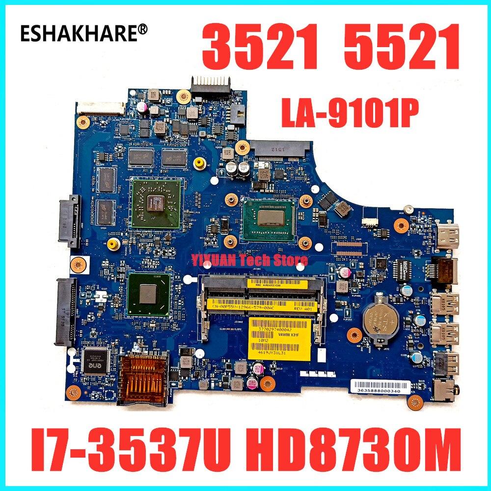 VAW01 LA-9101P для DELL inspiron 15R 3521 5521 материнская плата для ноутбука с i7-3537U CPU HD8730M 2GBVideo card
