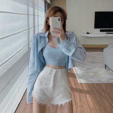 Two-Piece Camisole Set Western Style Leisure Lapel Long Sleeve Short Shirt Same Color Fashion V-neck