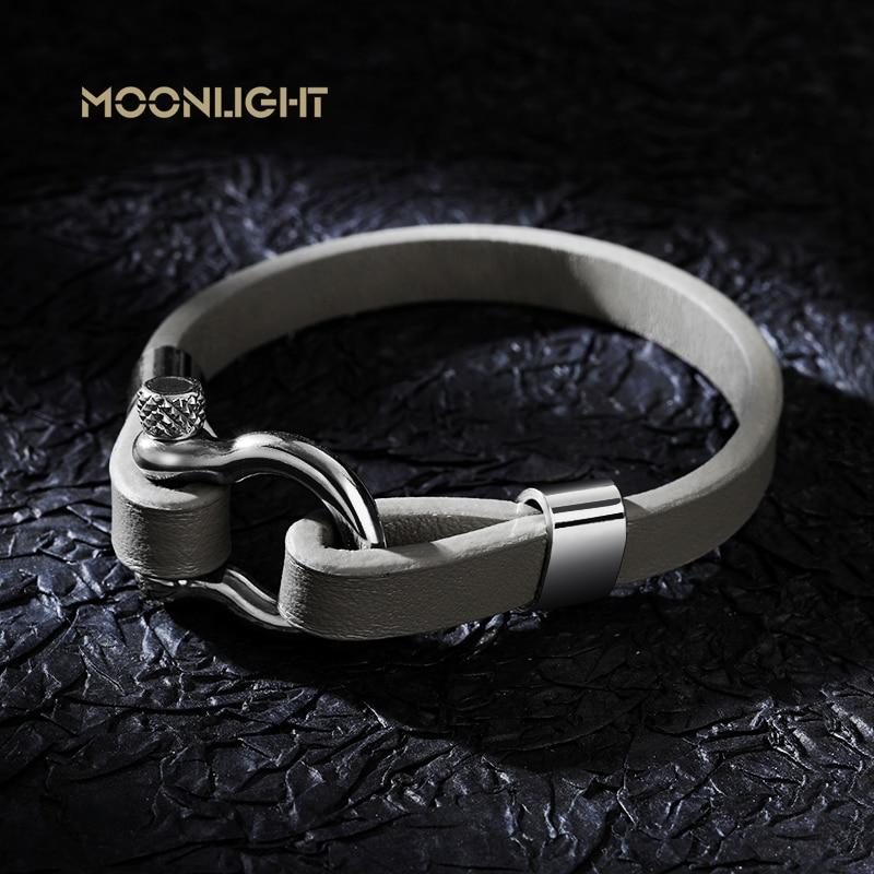 ضوء القمر جديد كلاسيكي الهيب هوب روك نمط هندسي دائرة تبديل المشابك الرجال الجلود سوار 21 سنتيمتر حجم هدية ذات مغزى