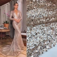 5yardspc 2021 newest champagne color african party lace allover embroidered beaded sequins french net lace for dress fss325