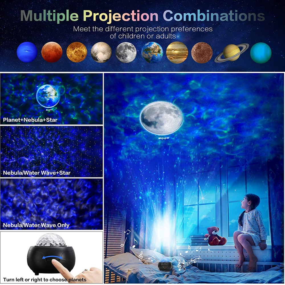 LED Laser Colorful Starry Sky Ocean Planet Projector Night Light Remote Control Moon Projection Lamp With Bluetooth Music enlarge