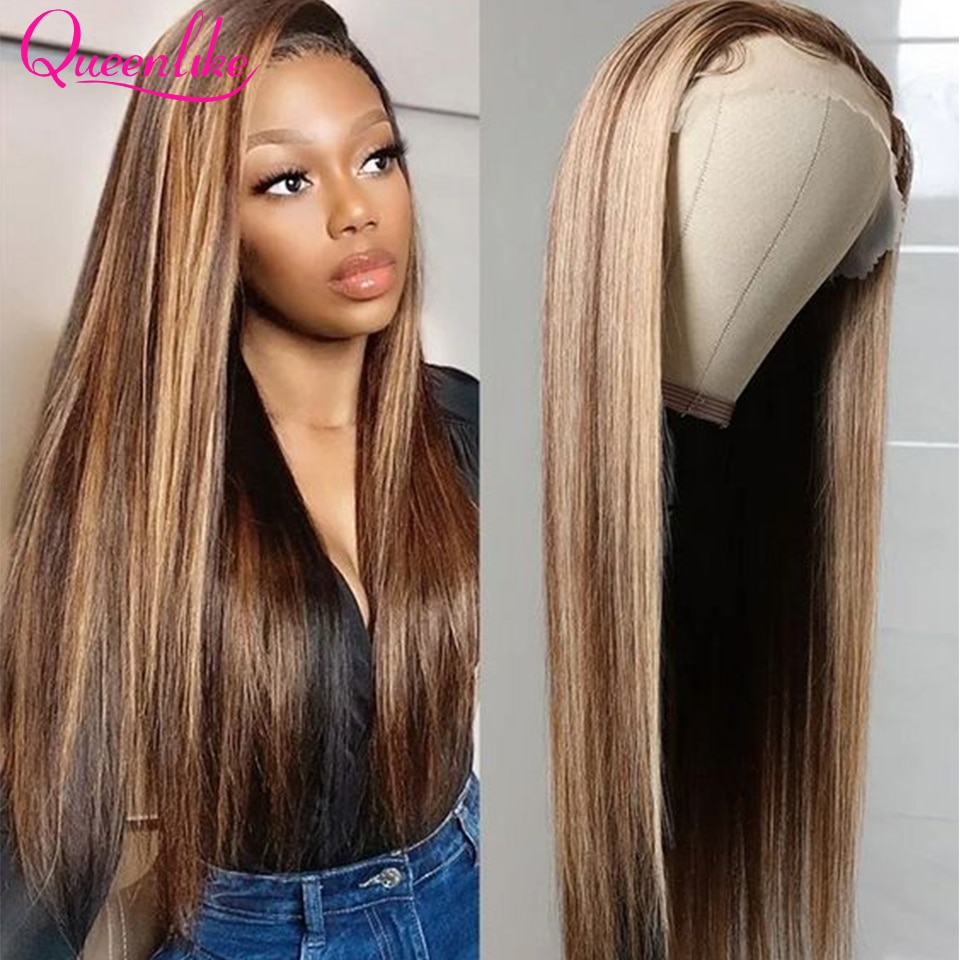 4 27 Highlight Wig Ombre Bone Straight 360 13x4 13X6 Lace Front Wig Brown Colored Brazilian Human Hair Wigs 4x4 Lace Closure Wig