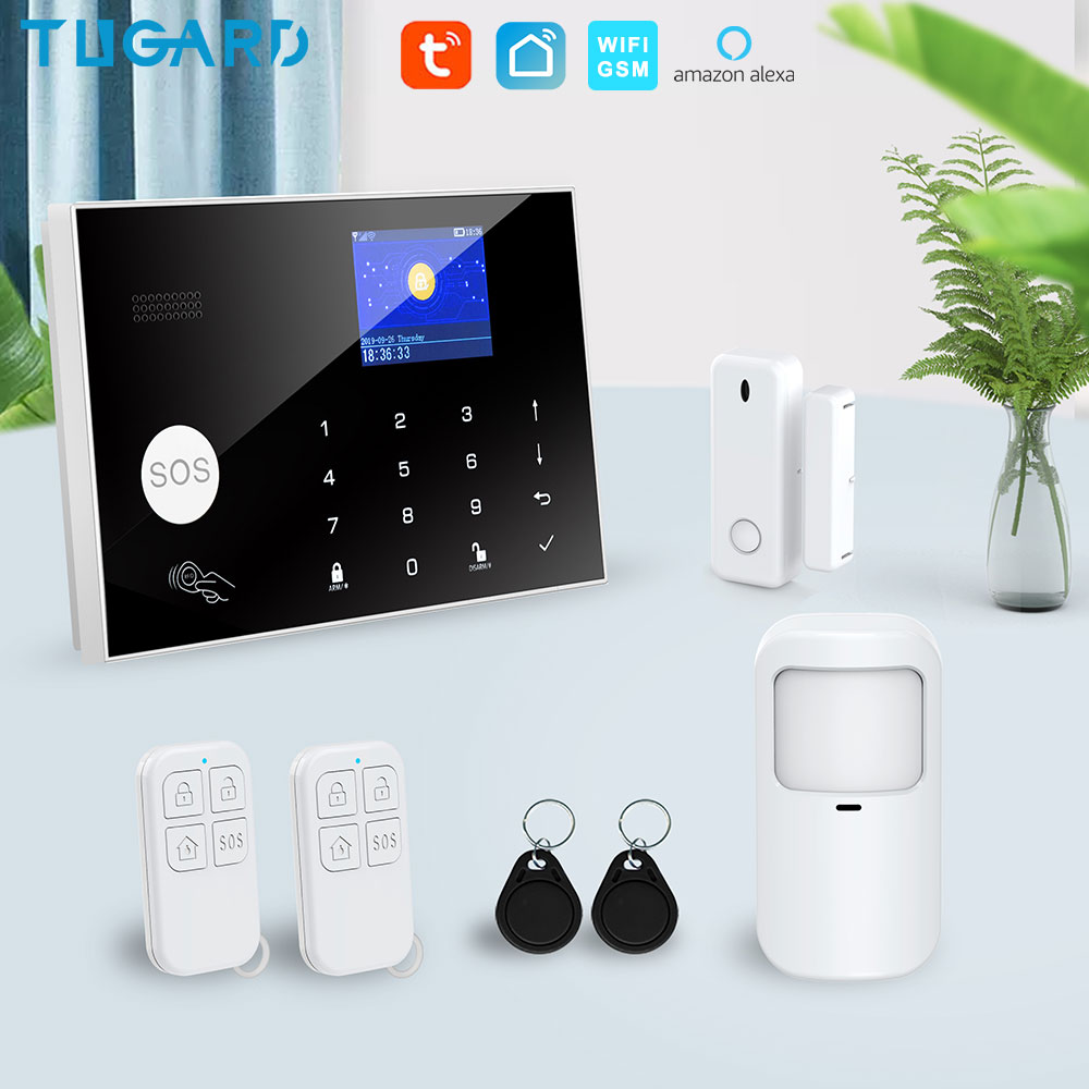 Tugard Tuya Wifi Gsm Home Burglar Security Alarm System 433MHz Apps Control LCD Touch Keyboard 11 Languages Wireless Alarm Kit