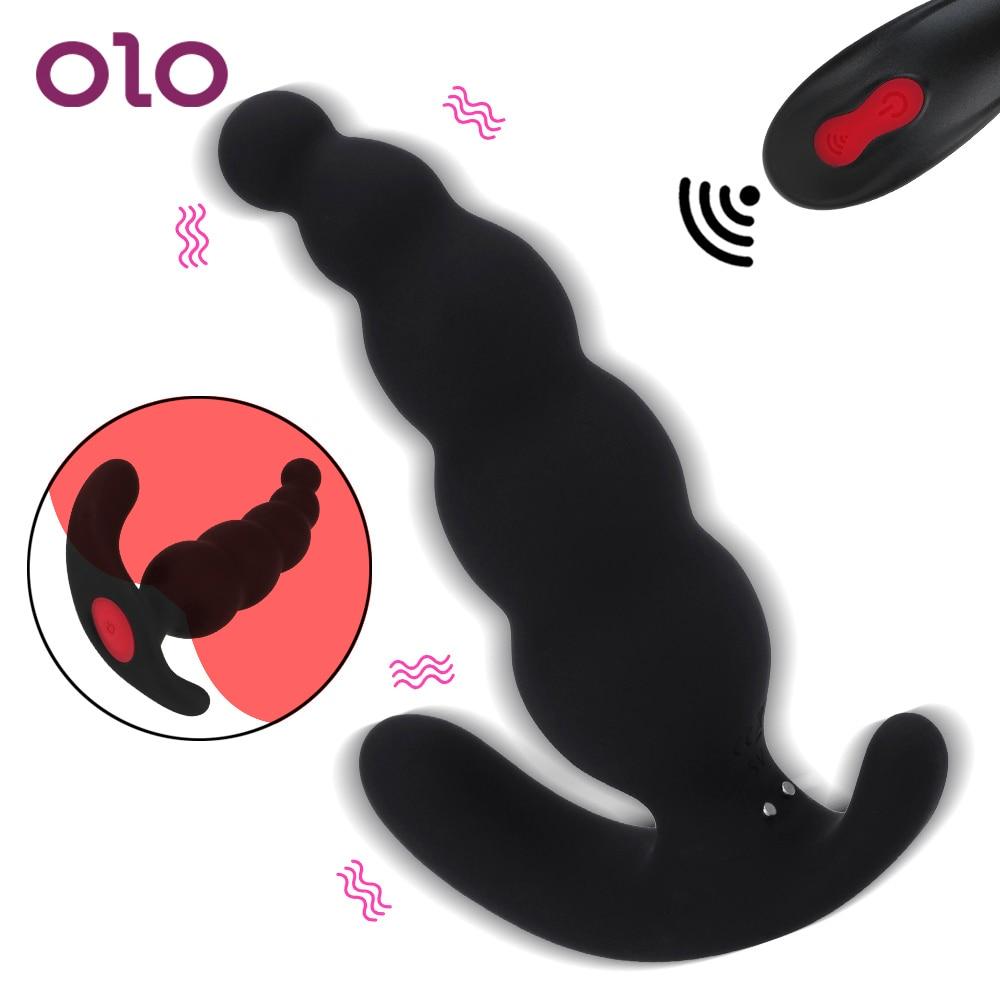 OLO 2 قالب 9 تردد لاسلكي للتحكم عن بعد ذكر الاستمناء شرجي التوصيل بعقب المكونات ألعاب جنسية من السيلكون للرجال