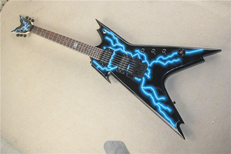 China fábrica de guitarra personalizado novo preto guitarra elétrica, azul relâmpago topo frete grátis 11yue