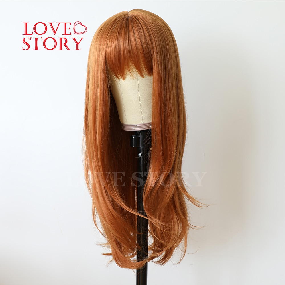 Lovestory Orange Color Synthetic None Lace Wigs Natural Wave Fiber Synthetic Heat Resistant Wig For Women