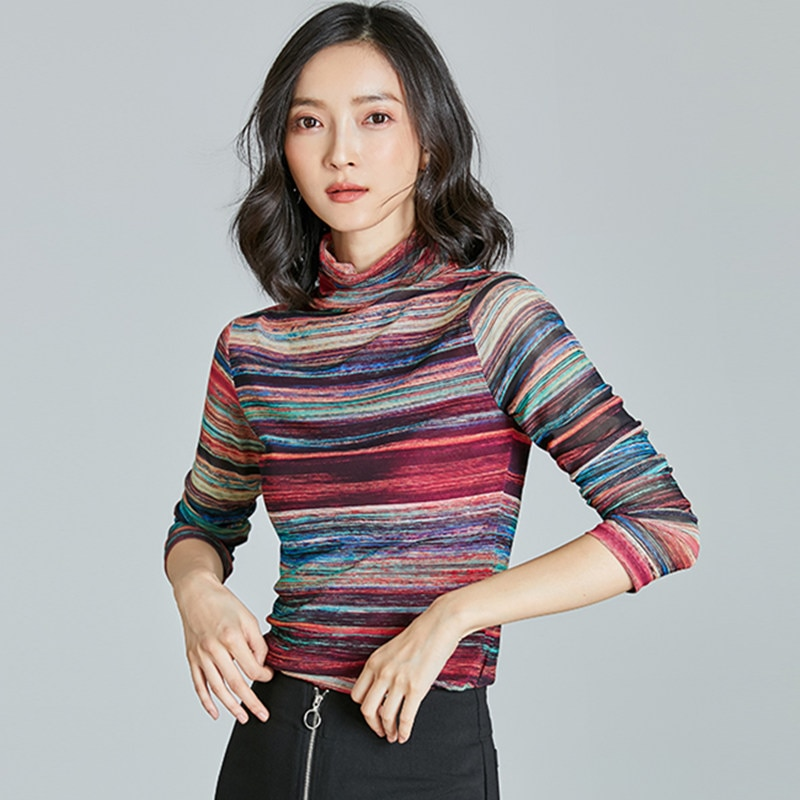 Korean Women Blouses Autumn Women Striped Blouse Tops Woman Long Sleeve Basic Turtleneck Top Woman Mesh Blouses Top Plus Size
