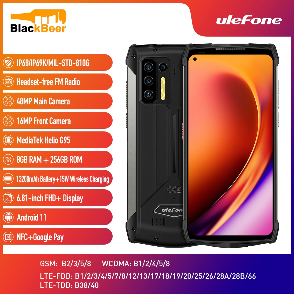 Ulefone Power Armor 13 Smartphone Android 11 8G+256G Cellphone IP68 Waterproof Rugged Mobile Phones 13200mAh Global Version NFC