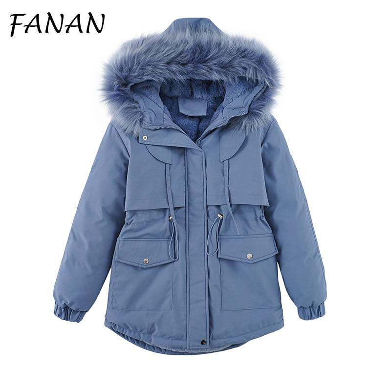 FANAN 2021 Winter Jacket Women Hooded Pink Long Parkas Mujer Loose Cotton Overcoat Za Casual Black W