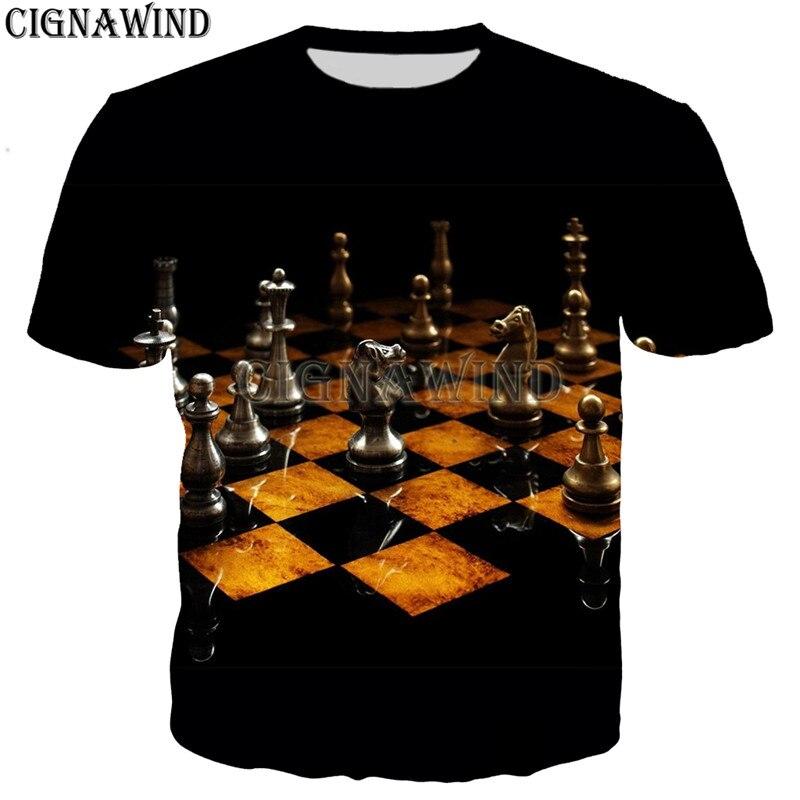 Camisetas divertidas de moda para hombre/mujer, Camiseta con estampado de ajedrez 3D, camiseta informal estilo Harajuku, camisetas de calle