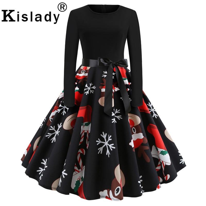 Nuevo invierno mujer Santa Claus ciervos calcetines estampado Vintage vestido de Navidad fajas lazo elegante Swing vestido de fiesta Vestidos Rockabilly