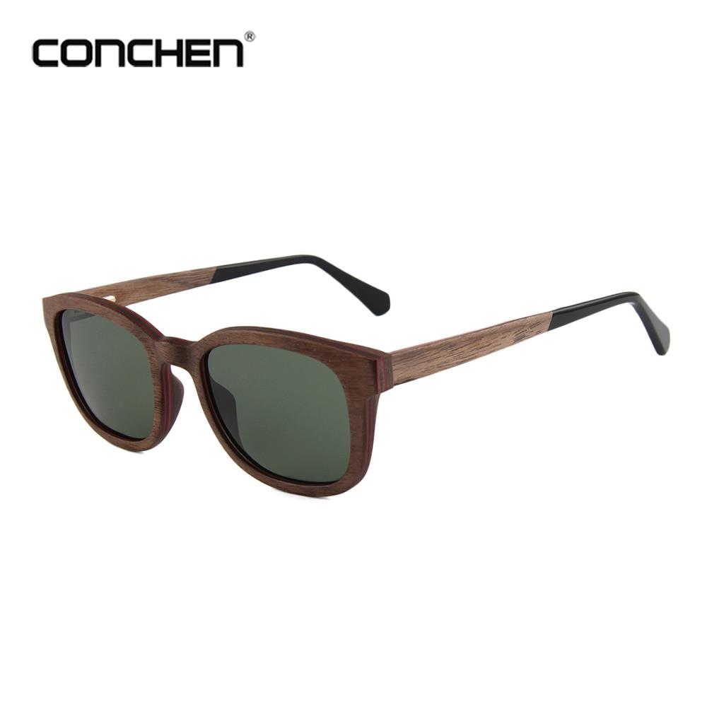 CONCHEN الاستقطاب نظارات شمسية من خشب البامبو الرجال أفضل العلامة التجارية مصمم الأصلي UV400 حماية نظارات شمسية
