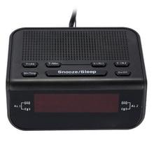 Digital Alarm Clock Radio for Bedrooms FM Radio Digits Dimmerable Red Display,Easy Snooze,Sleep Timer (EU Plug)
