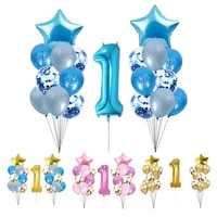 meidding one birthday balloons decoration set star number one foil ballon first birthday globo balon baby shower decorations