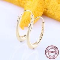 hot original 925 sterling silver shine gold oversized oval earrings hook earrings creative hollow large earrings hook women