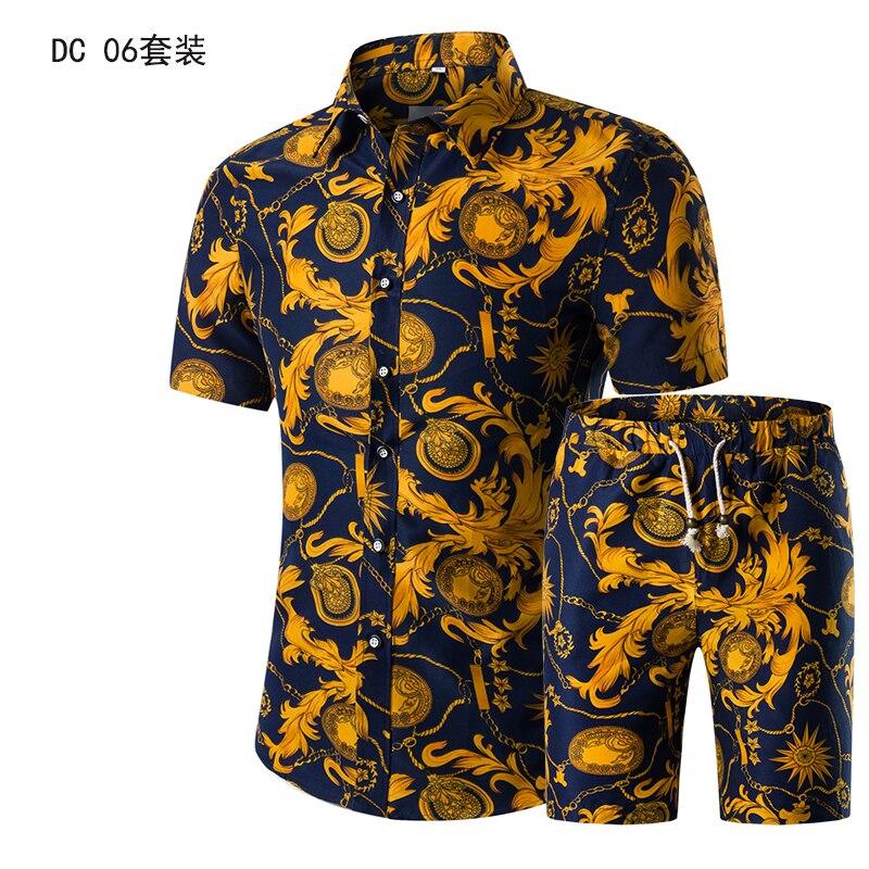 Летняя мужская мода 2021, золотые Роскошные Дизайнерские рубашки для мужчин, комплект, необычная Гавайская пляжная одежда с цветочным принто...